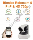 BIONICS ROBOCAM 5 ������� ��������� IP ������ ������ �������� (HD) �� ���������� PnP & One key WiFi Setup ��� ������� ������ micro SD