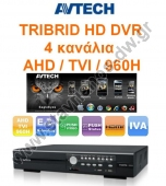 ����������� TRIBRID AVTECH 4 �������� H.264 Dual Stream 4CH 1080P Real Time Record / Real Time Playback AVZ203