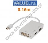 DisplayPort MINI ������� - ���������� �� DVI - VGA - HDMI ������ �� ����� �������� 0.15m VLMP 37465 W0.20