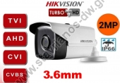 HIKVISION DS-2CE16D0T-IT3F-3.6MM Κάμερα Bullet με φακό 3.6mm και ανάλυση 2MP