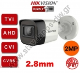 HIKVISION DS-2CE16D3T-ITF-2.8MM Κάμερα Bullet με φακό 2.8mm και ανάλυση 2MP