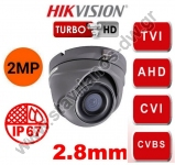 HIKVISION DS-2CE76D3T-ITMF-2.8MM-GREY Κάμερα Dome Turbo Hd με φακό 2.8mm και ανάλυση 2MP σε γκρί χρώμα